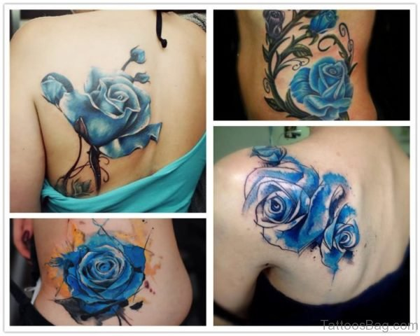 Beautiful Blue Rose Tattoo On Shoulder