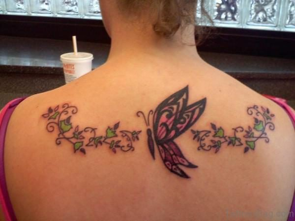 Beautiful Butterfly Tattoo On Back