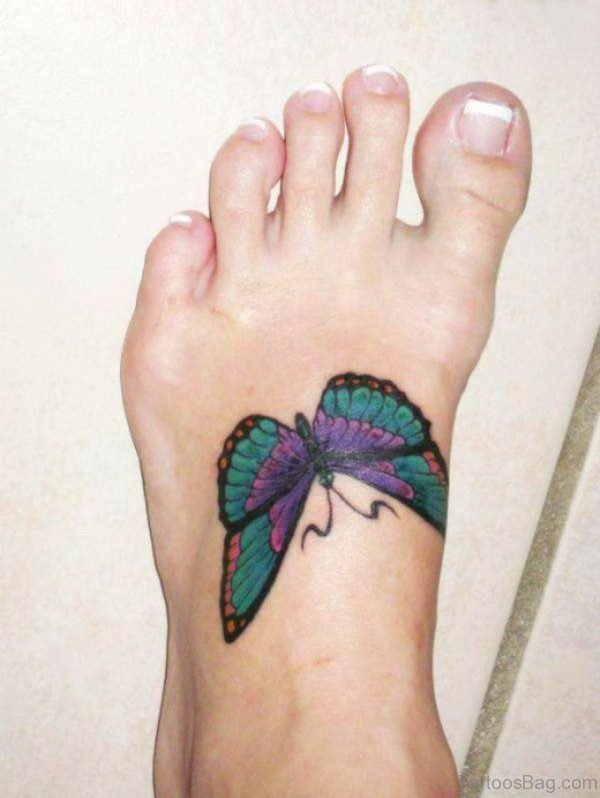 Beautiful Butterfly Tattoo On Foot