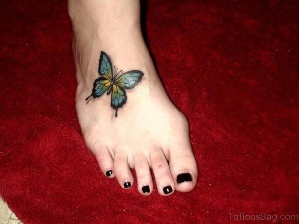 Beautiful Butterfly Tattoo On Foot