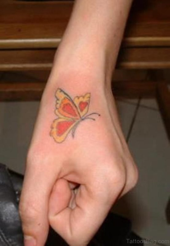 Beautiful Butterfly Tattoo On Hand