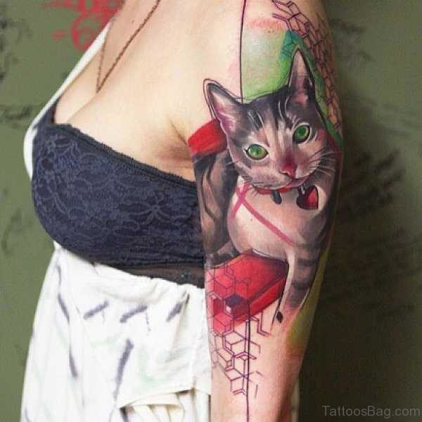 Beautiful Cat Shoulder Tattoo