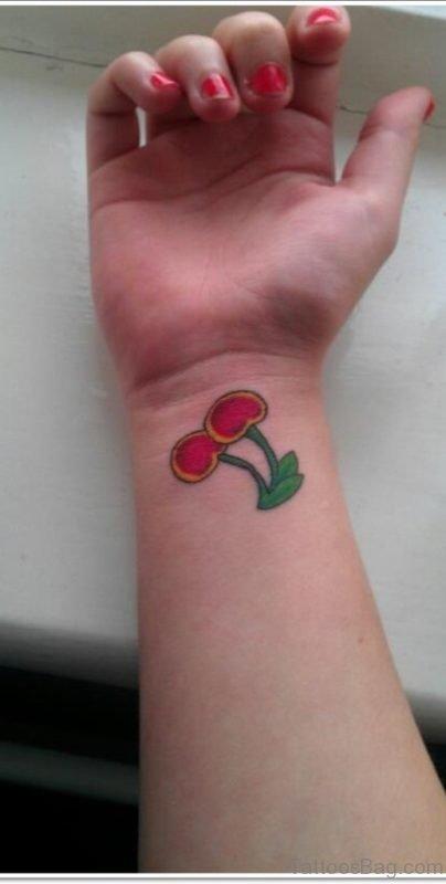 Beautiful Cherry Tattoo On Wrist