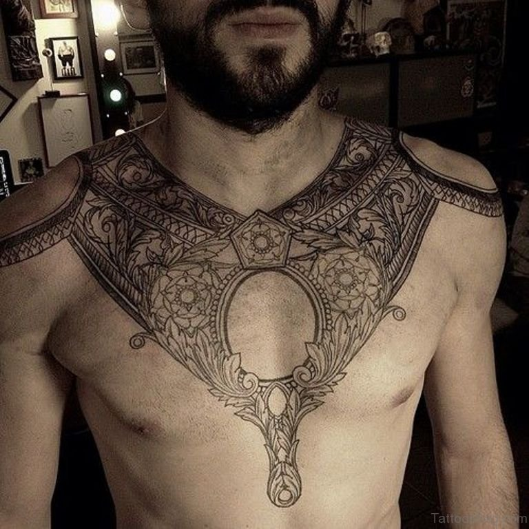 75 brilliant chest tattoos for men for Pretty breast tattoos