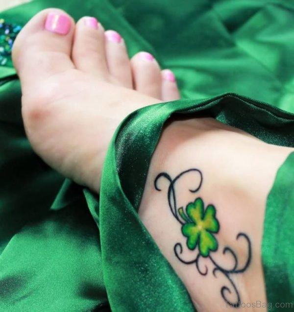Beautiful Clover Leaf Tattoo On Foot