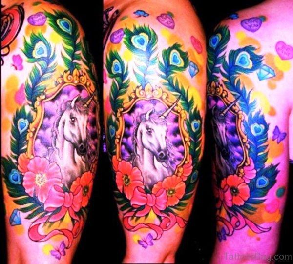 Beautiful Combined Unicorn Tattoo On Shoulder