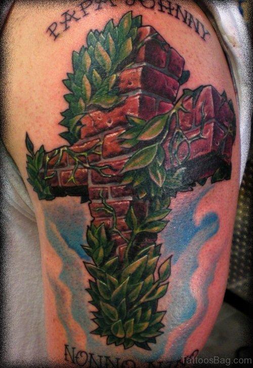 Beautiful Cross Tattoo On Shoulder