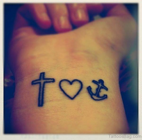 Beautiful Cross Tattoo On Wrist