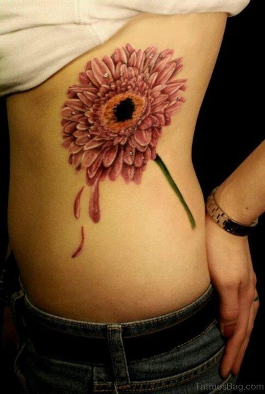 Beautiful Daisy Flower Tattoo On Rib