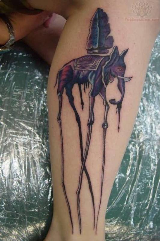 Beautiful Dali Elephant Tattoo On Leg