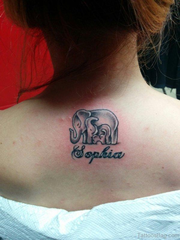 Beautiful Elephant Tattoo On Back