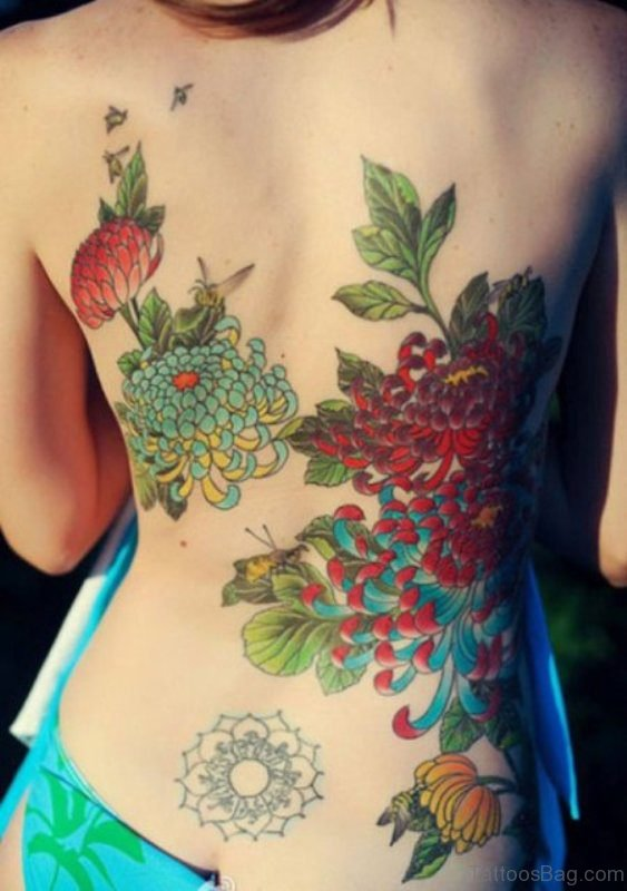 Beautiful Flower Tattoo On Back