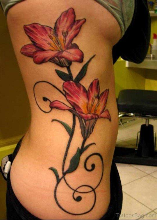 Beautiful Flower Tattoo On Rib TD112