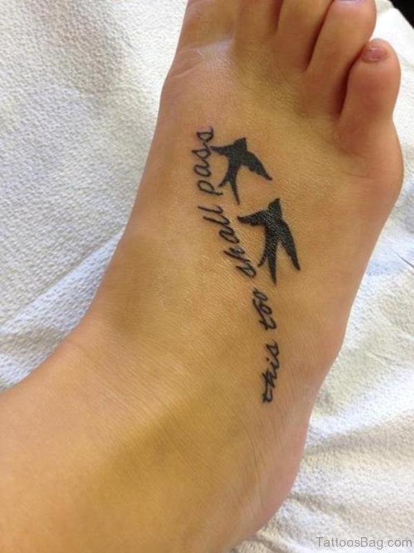Beautiful Flying Bird Tattoo On Foot