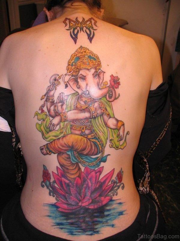 Beautiful Ganesha Tattoo Design On Back
