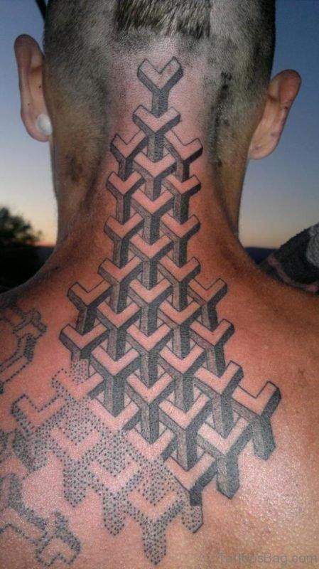 Beautiful Geometric Tattoo On Nape