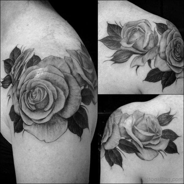 Beautiful Grey Roses Tattoo
