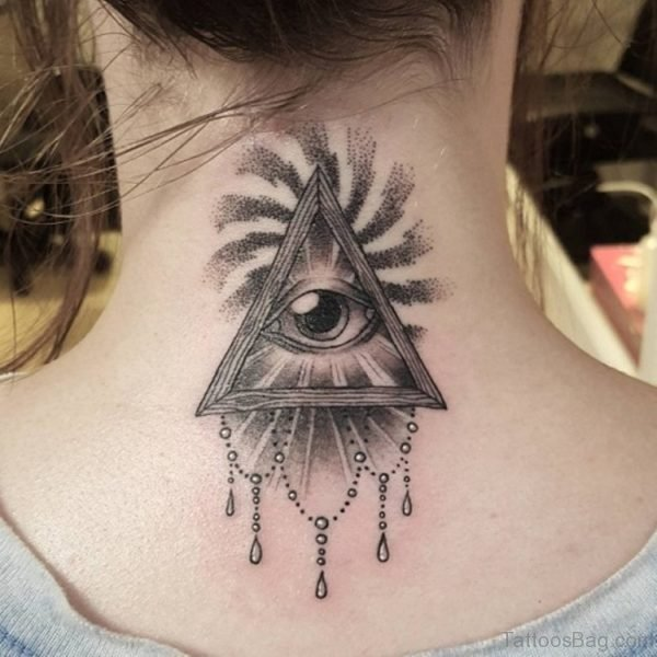 Beautiful Grey Triangle Eye Tattoo On Back Neck