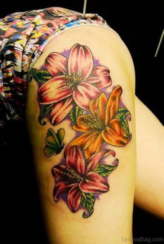 Beautiful Lily Flower Tattoo Design On Thigh