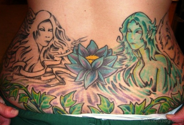 Beautiful Lotus Flower Tattoo Design on Lower Back