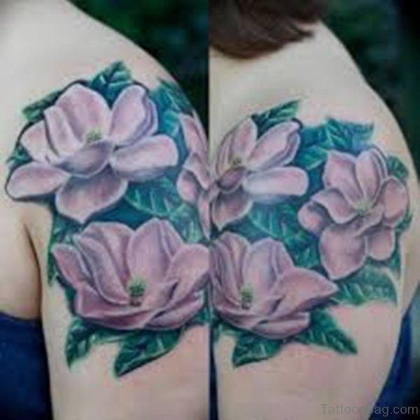Beautiful Magnolia Tattoo On Shoulder