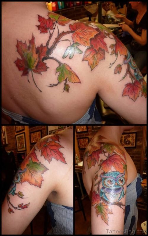 Beautiful Maple Leaves With Owl Fall Tattoo On Upper Shoulder