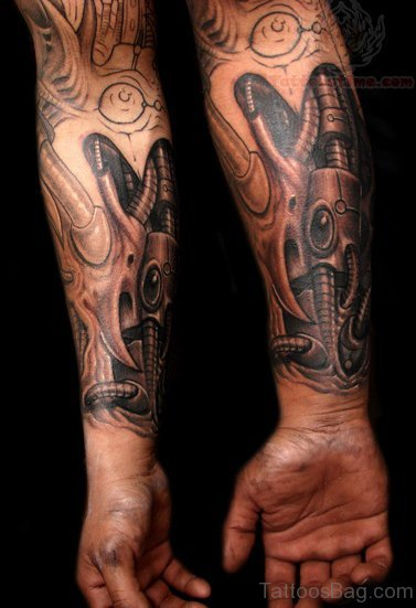 Beautiful Mechanical Tattoo On Wrist