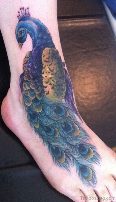 56 awesome peacock tattoo on foot. Black Bedroom Furniture Sets. Home Design Ideas
