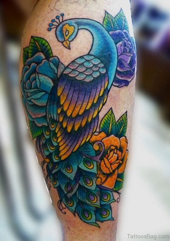 Beautiful Peacock Tattoo On Thigh