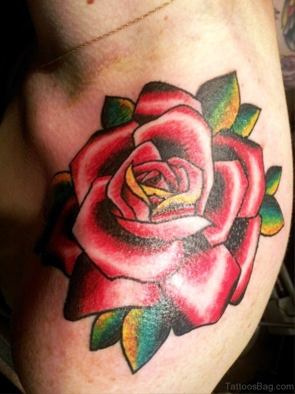Beautiful Red Rose Tattoo On Shoulder