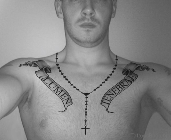 Beautiful Rosary Chest Tattoo