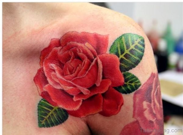 Beautiful Rose Tattoo On Shoulder