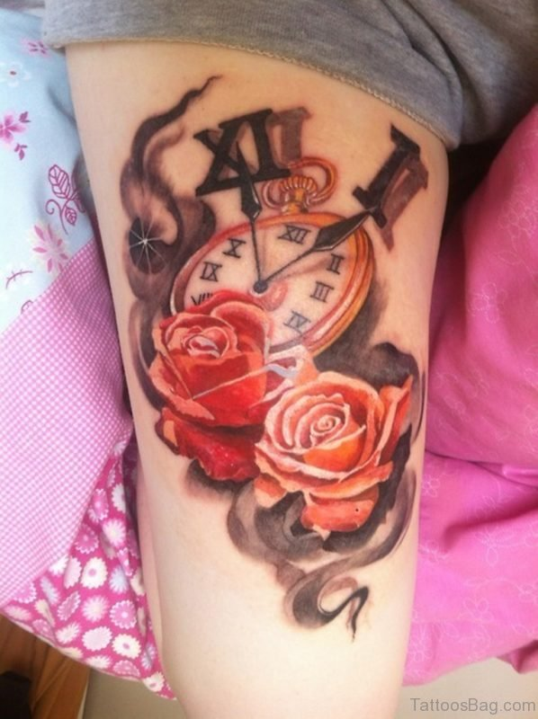 Beautiful Rose Tattoo On Thigh