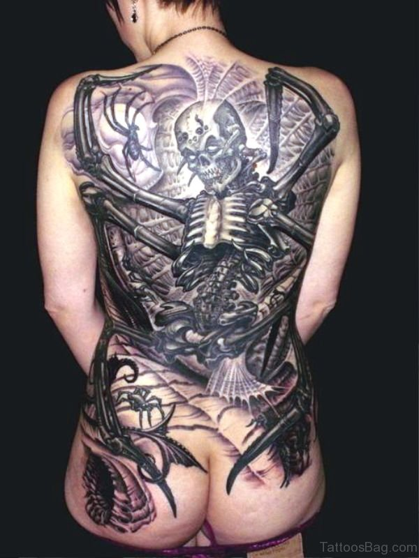 Beautiful Skeleton Tattoo On Back