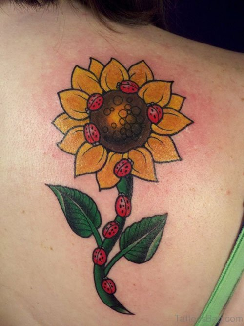 Beautiful Sunflower Tattoo On BAck Shoulder