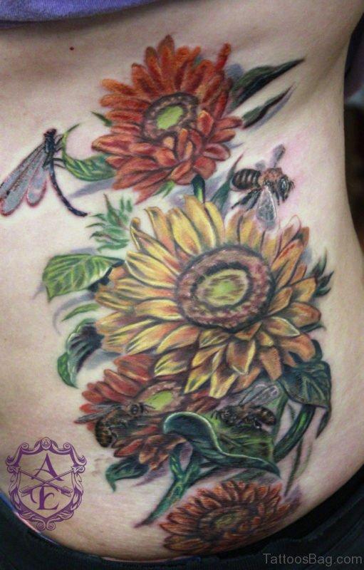 Beautiful Sunflower Tattoo On Rib