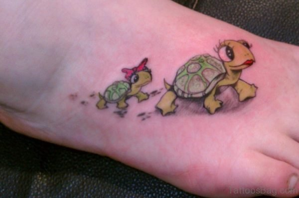 Beautiful Turtle Tattoo On Foot