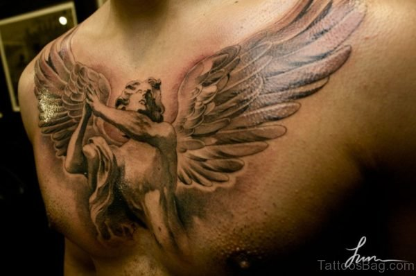 Beautiful Wings Tattoo on Chest