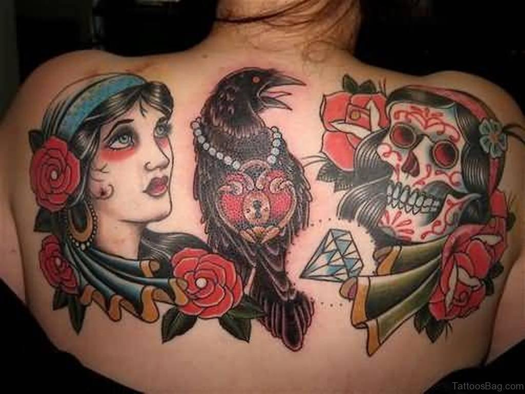 80 good looking skull tattoos on upper back for Female skull tattoos