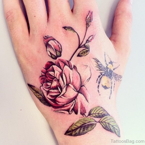 Bee And Flowers Tattoo On Hand