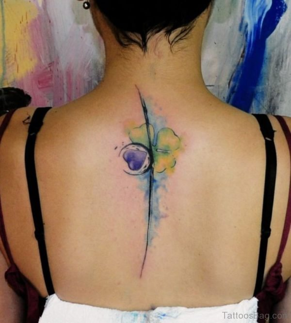Bee Flower Tattoo On Upper Back
