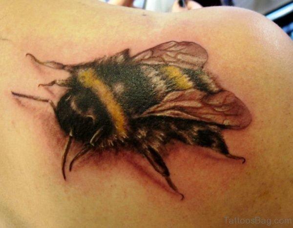 Bee Tattoo Design On Shoulder