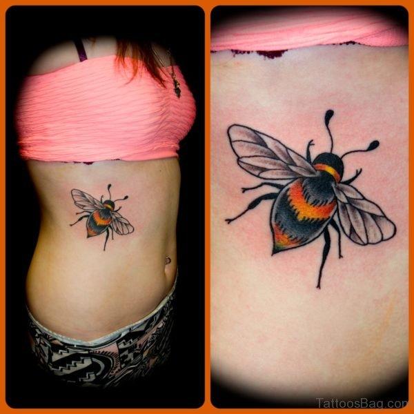 Bee Tattoo On Rib