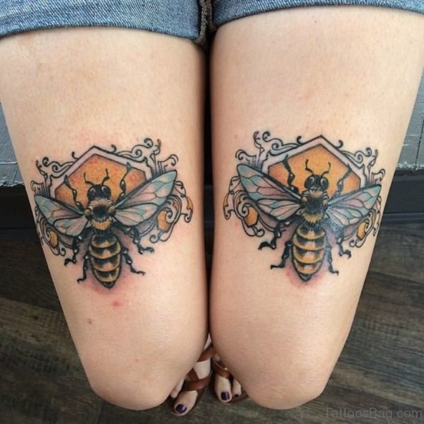 Bee Tattoo On Thigh