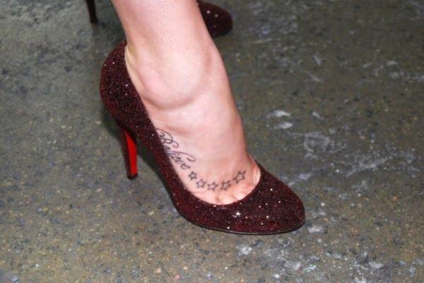 Believe Star Tattoo On Foot
