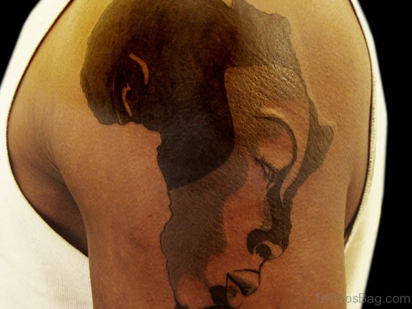 Best African Map And Queen Face Tattoo On Shoulder