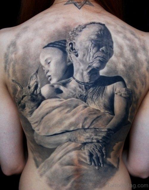 Best African Women Back Body Tattoo