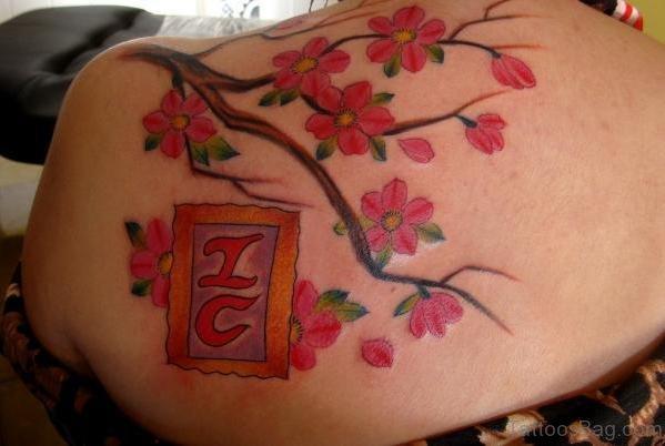 Best Cherry Blossom Tattoos Design On Upper Back Sholder