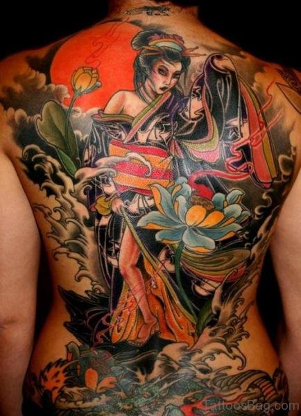 Best Colored Asian Tattoo Design On Back Body