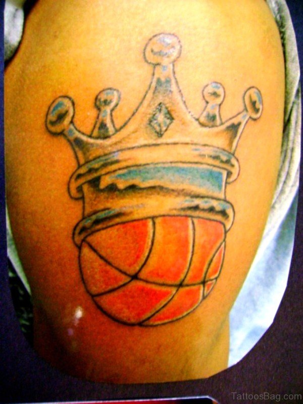Best Crowned Basketball Tattoo On Shoulder